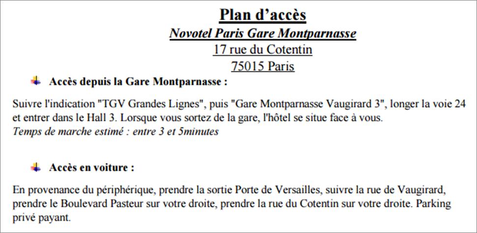 plan accès